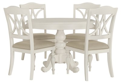 Lovely White Round Table Part - 11: Quinn White Round Table U0026 4 Wood Chairs
