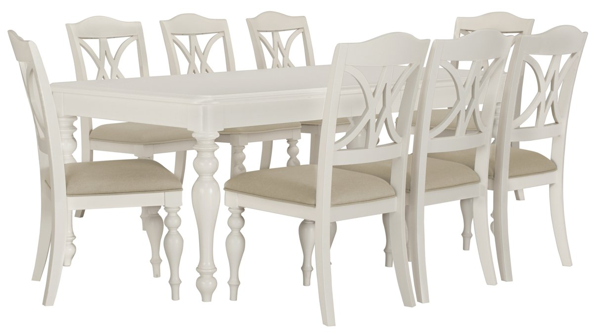 Quinn White Rect Table & 4 Wood Chairs
