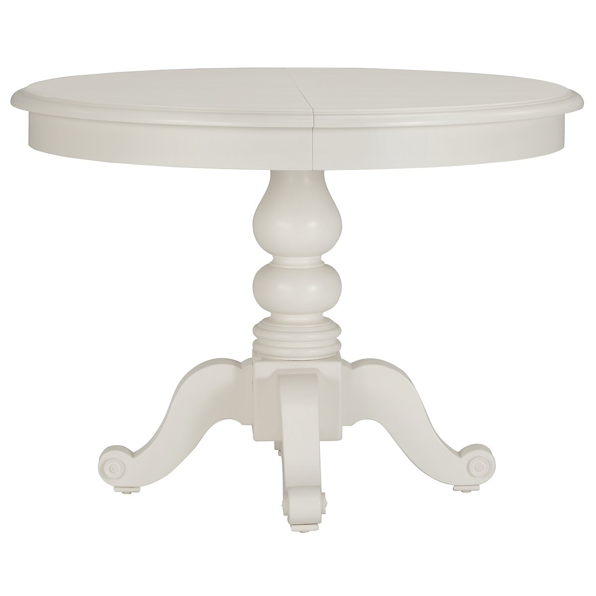 City Furniture Quinn White Round Table - White pedestal table with leaf