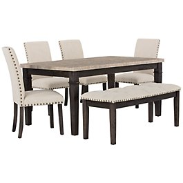 Portia Dark Tone Marble Table 4 Chairs Bench
