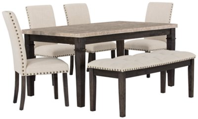 Image Of Portia Dark Tone Marble Table, 4 Chairs U0026 Bench With Sku:9709584