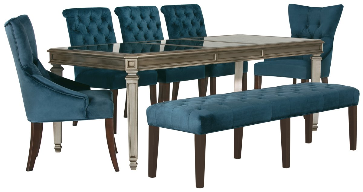 Sloane Dark Blue Rect Table, 4 Chairs & Bench