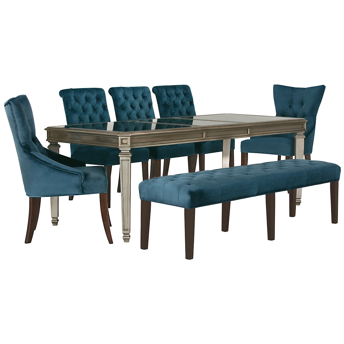 Sloane Dark Blue Upholstered Table, 4 Chairs & Bench