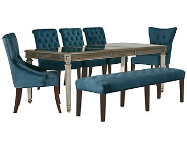 Sloane Dark Blue Rectangular Table, 4 Chairs & Bench
