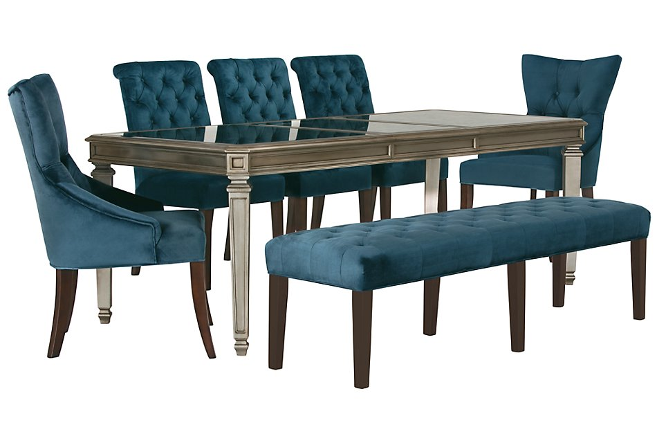Terrific Sloane Dark Blue Rect Table 4 Chairs Bench Dining Room Bralicious Painted Fabric Chair Ideas Braliciousco