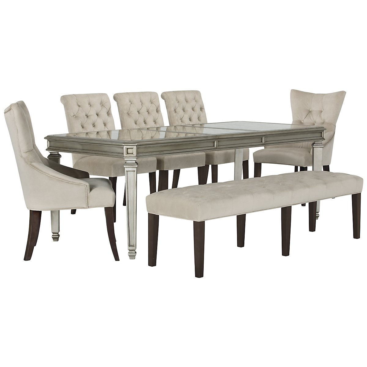 City Furniture: Sloane Lt Beige Rectangular Table, 4 Chairs & Bench