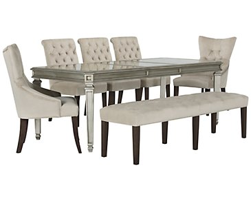 Sloane Light Beige Rectangular Table, 4 Chairs & Bench