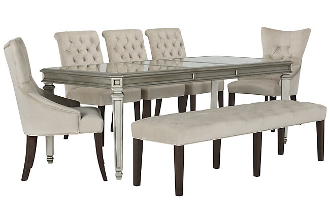 Sloane Light Beige Rect Table, 4 Chairs & Bench