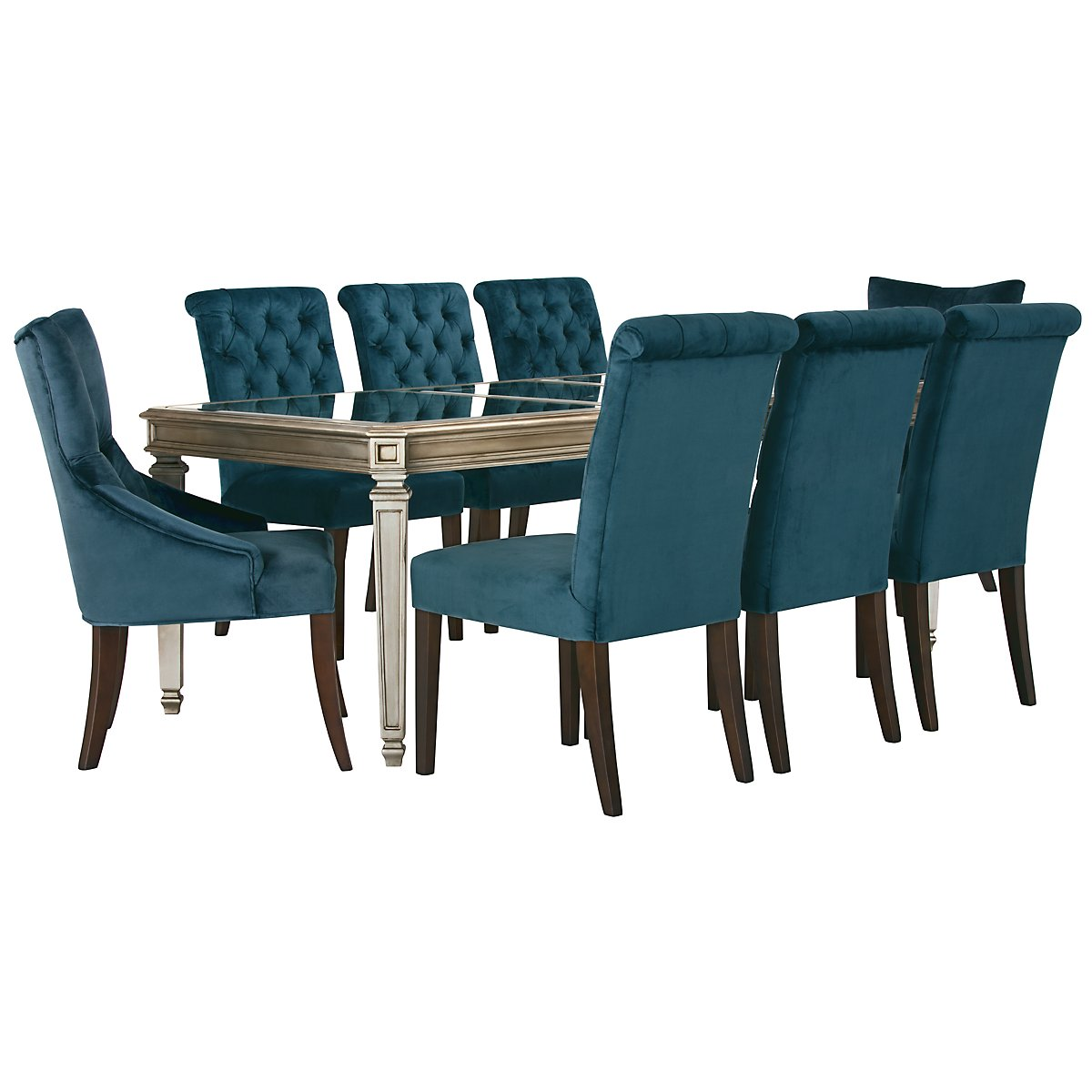 City Furniture Sloane Dk Blue Rectangular Table Upholstered Chairs - Rectangle table with 4 chairs