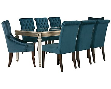 Sloane Dark Blue Rectangular Table & 4 Upholstered Chairs