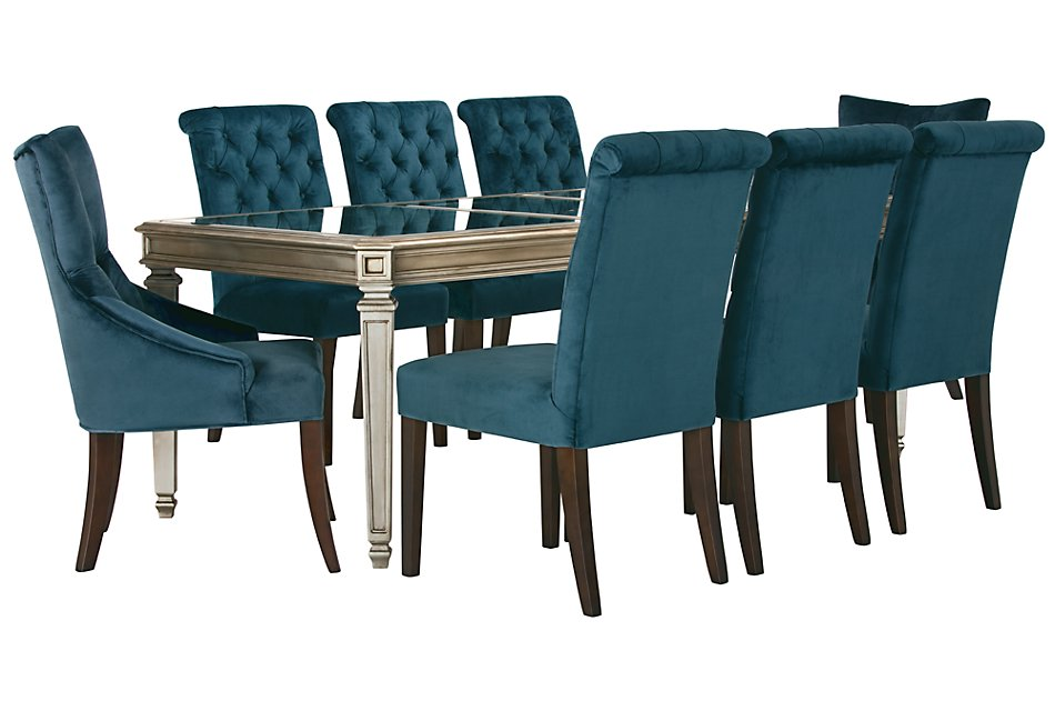 Sloane Dark Blue RECT Table & 4 Upholstered Chairs | Dining ...