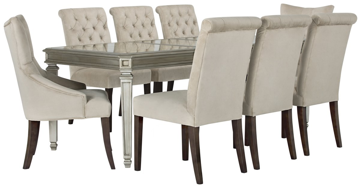 Sloane Light Beige Rect Table & 4 Upholstered Chairs