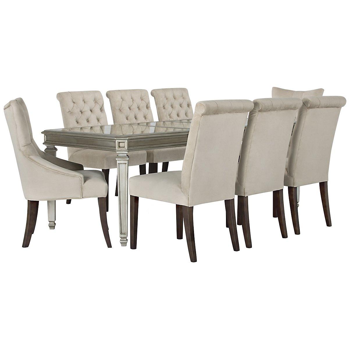Sloane Light Beige Rectangular Table & 4 Upholstered Chairs