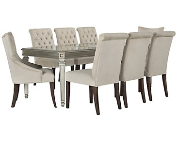 Sloane Light Beige Rectangular Table & 4 Upholstered Chairs