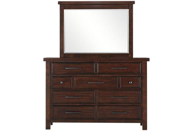 Napa Dark Tone Wood Dresser & Mirror