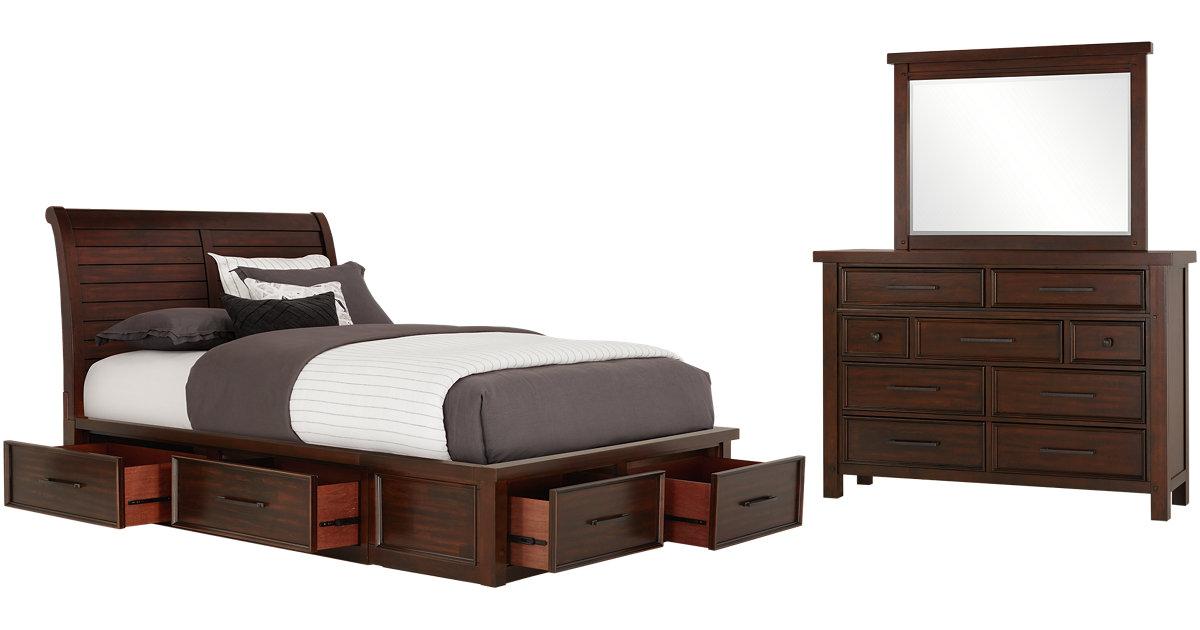 City Furniture Napa Dark Tone Six Drawer Sleigh Storage