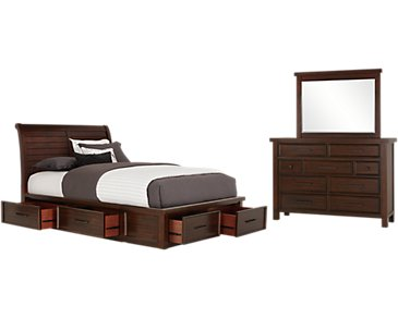 Napa Dark Tone Six-Drawer Sleigh Storage Bedroom