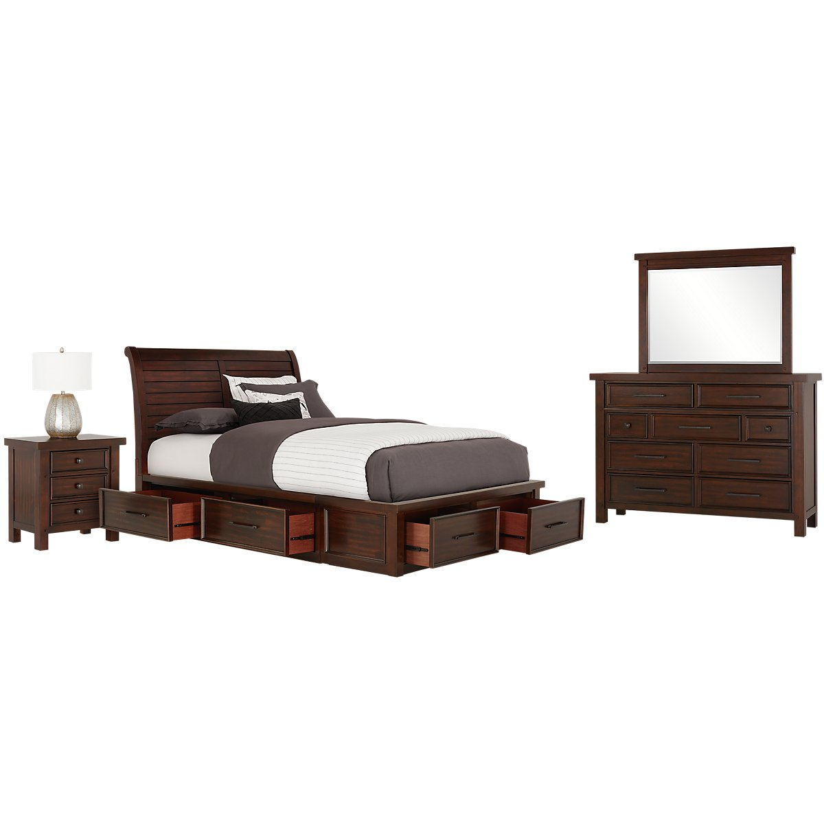 City furniture napa dark tone six drawer sleigh storage bed for Furniture n more beds