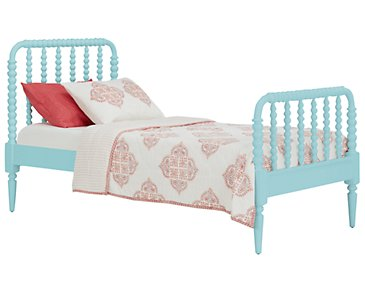 Livie Light Blue Panel Bed