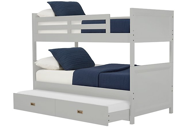 Ryder Gray Wood Trundle Bunk Bed