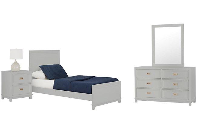 Ryder Gray Wood Panel Bedroom