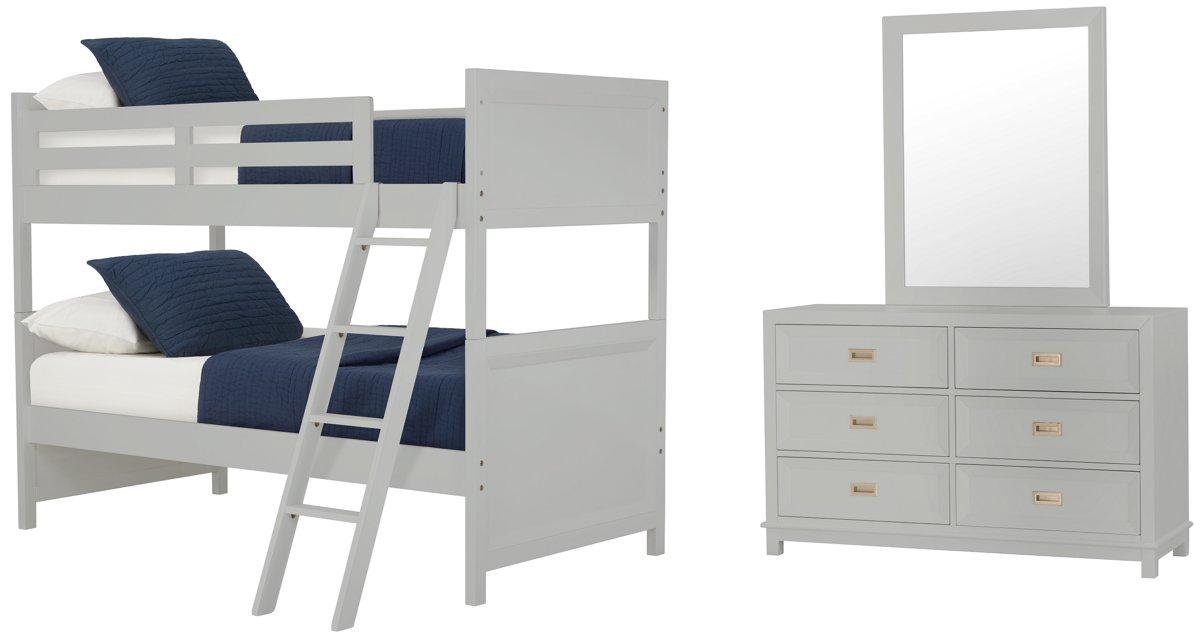 Ryder Gray Wood Bunk Bed Bedroom