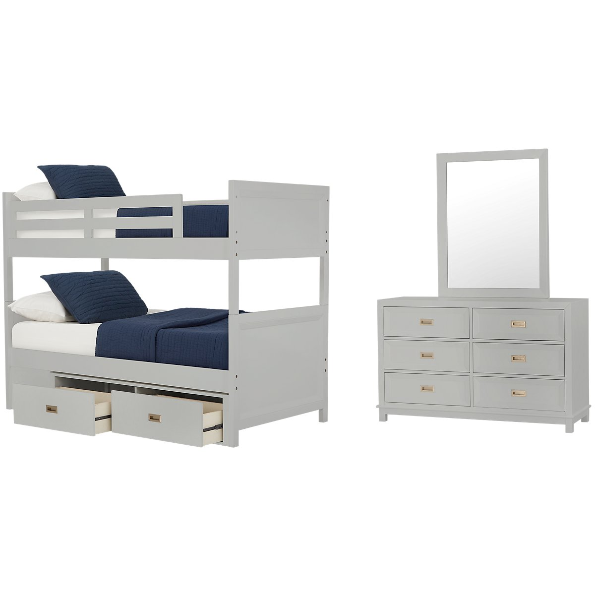 Ryder Gray Wood Bunk Bed Storage Bedroom