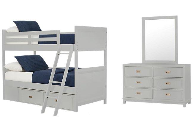 Ryder Gray Wood Bunk Bed Storage Bedroom