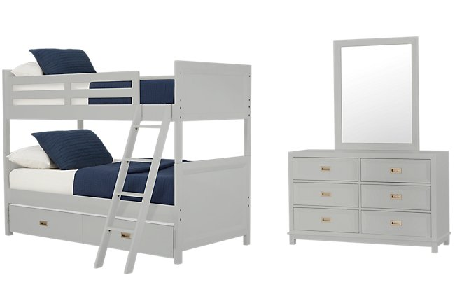 Ryder Gray Wood Bunk Bed Trundle Bedroom