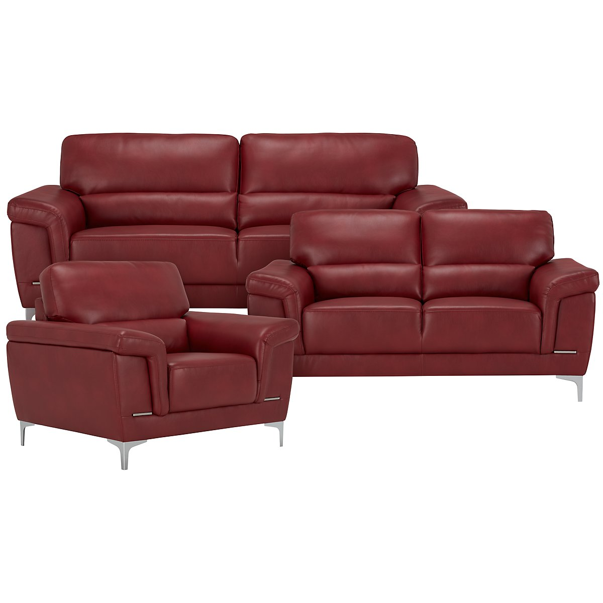 City Furniture: Enzo Red Microfiber Living Room