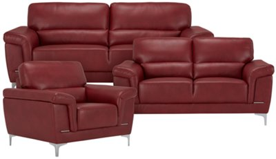 Delightful Enzo Red Microfiber Sofa