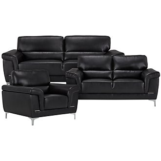 Enzo Black Microfiber Living Room
