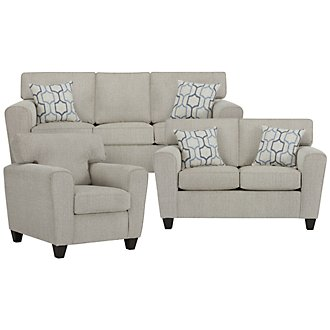 Zoey Light Beige Microfiber Living Room