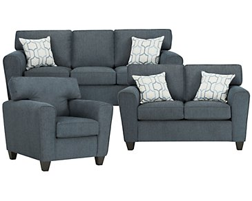Zoey Dark Blue Microfiber Living Room