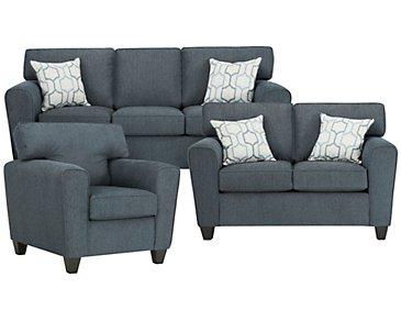 Zoey Dark Blue Microfiber Living Room