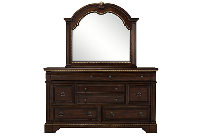 Madrid Dark Tone Wood Dresser & Mirror
