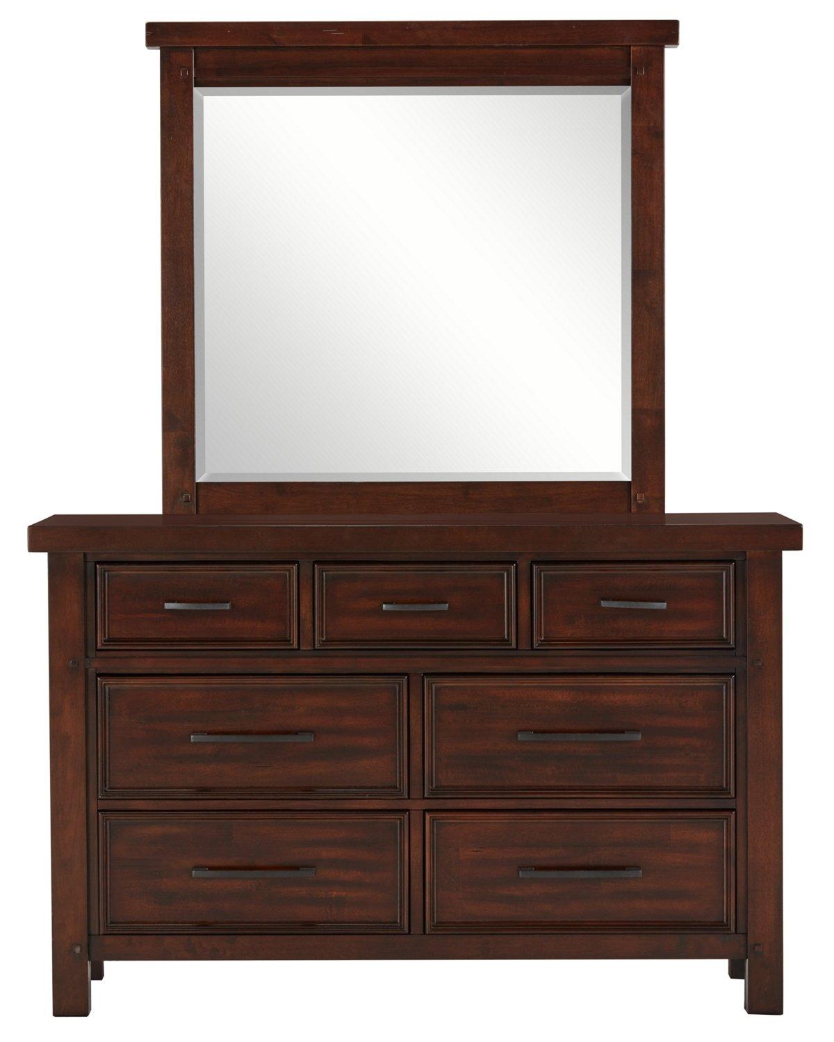 Napa Dark Tone Wood Youth Dresser & Mirror