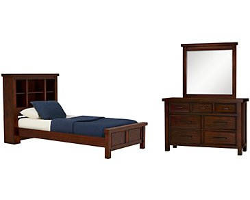 Napa Dark Tone Bookcase Bedroom