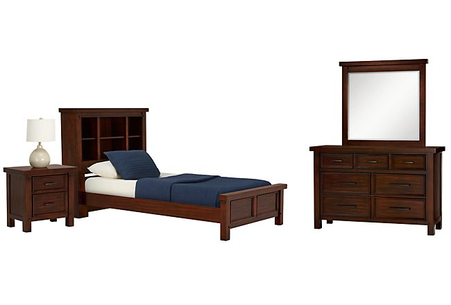 Napa Dark Tone Wood Bookcase Bedroom