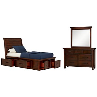 Napa Dark Tone Four-Drawer Sleigh Storage Bedroom