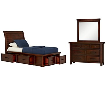 Napa Dark Tone Four-Drawer Sleigh Storage Bedroom