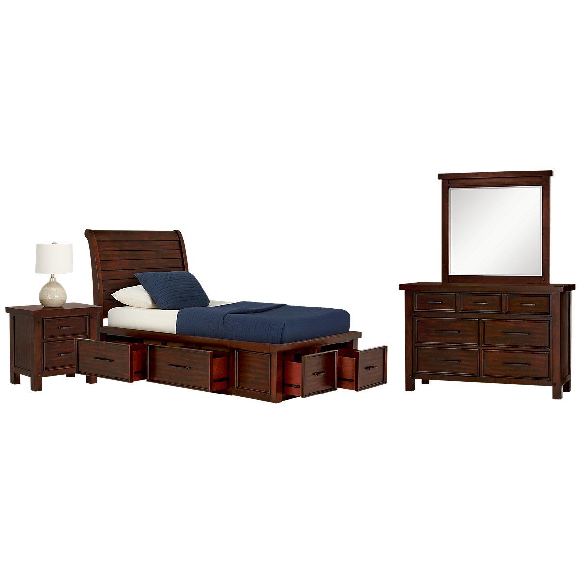 City furniture napa dark tone sleigh storage bedroom for Napa valley bedroom furniture
