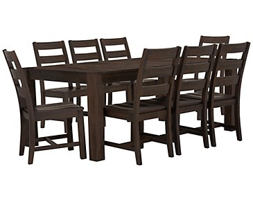 Holden Mid Tone Rectangular Table & 4 Upholstered Chairs