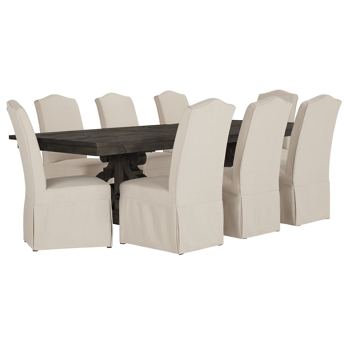 Sonoma Dark Tone Wood Table & 4 Upholstered Chairs