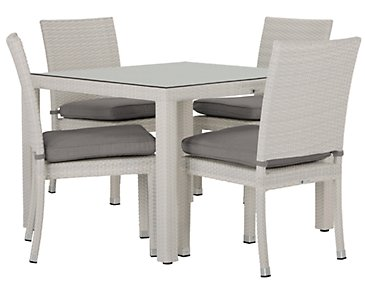 "Bahia Gray 40"" Square Table & 4 Chairs"