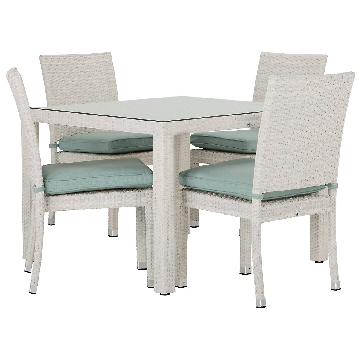 "Bahia Teal 40"" Square Table & 4 Chairs"