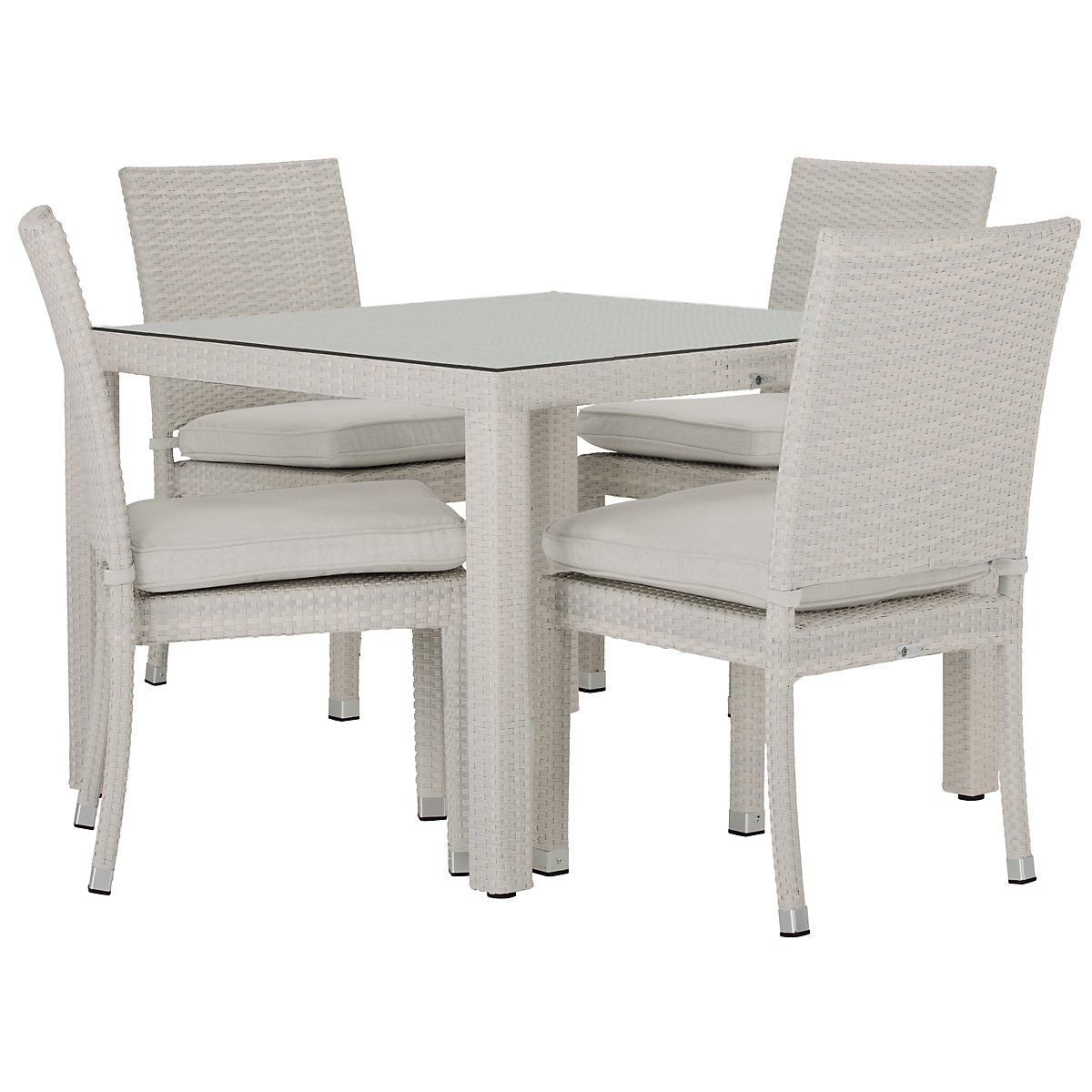 "Bahia White 40"" Square Table & 4 Chairs"