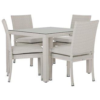 """Bahia White 40"""" Square Table & 4 Chairs"""