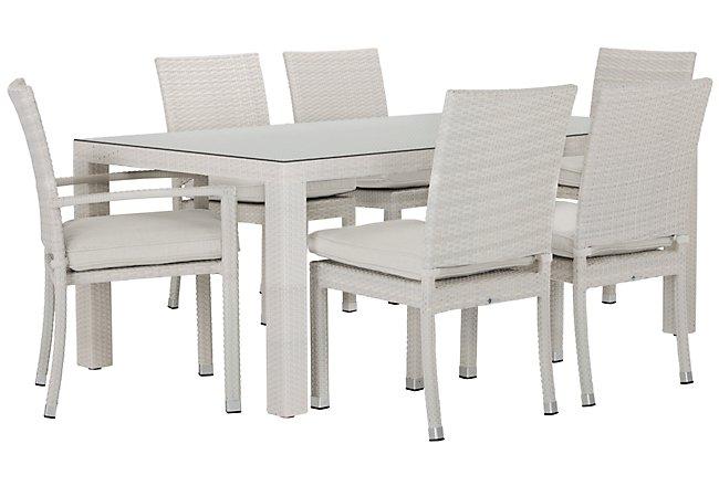 """Bahia White 72"""" Rectangular Table & 4 Chairs"""