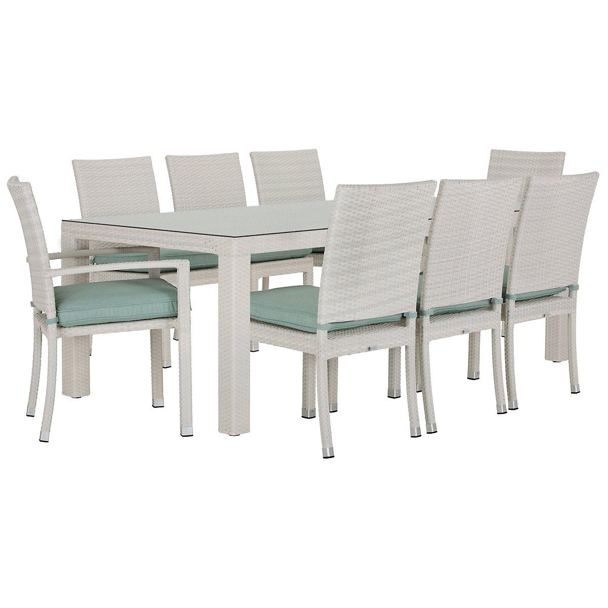 "Bahia Teal 84"" Rectangular Table & 4 Chairs"